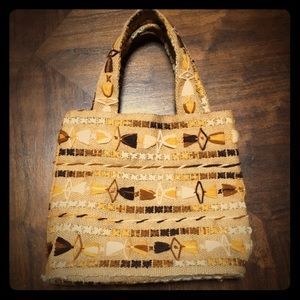 Vintage Burlap Bag Boho Crewel Hippie Fall 70s